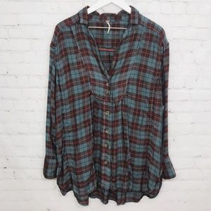 Free People Tops - Free People Tunic Top Plaid Flannel Button Shirt